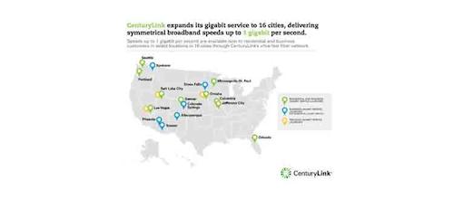 CenturyLink Expands Gigabit to 16 Cities | Broadband ... on comcast business internet availability map, frontier internet availability map, verizon dsl availability map, dish internet availability map, cox internet availability map,
