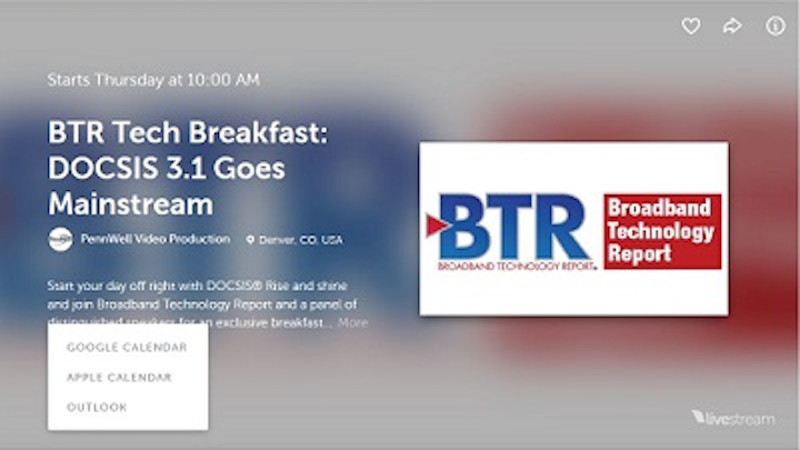 Live Stream our DOCSIS 3.1 Breakfast at Expo